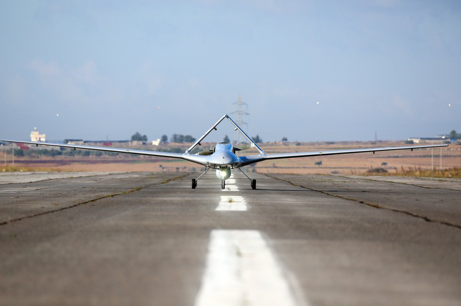 The Bayraktar TB2 drone at Geçitkale Airport in the Turkish Republic of Northern Cyprus, Dec. 16, 2019. (AA Photo)