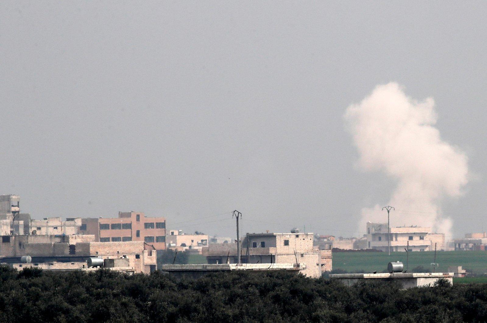 Smoke rises after an air strike in Saraqib in Idlib province, Syria, Feb. 28, 2020. (Reuters Photo)
