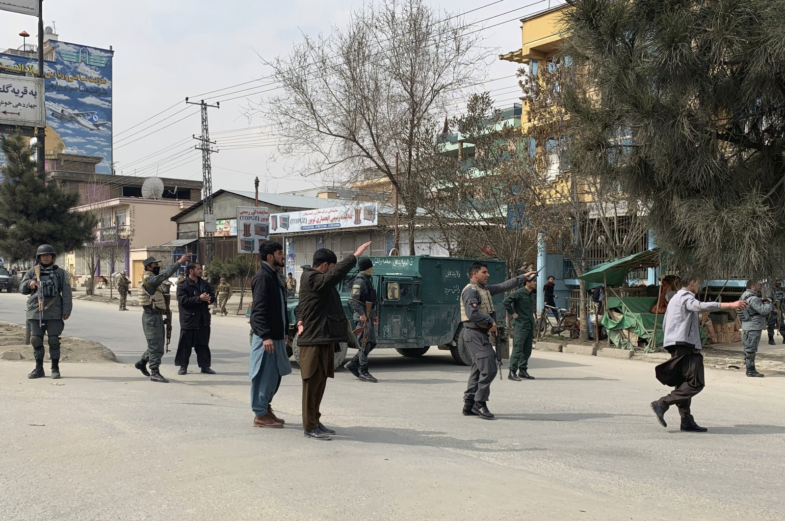 Afghan security personnel arrive at the site of an attack in Kabul, Afghanistan, Friday, March 6, 2020. (AP Photo)