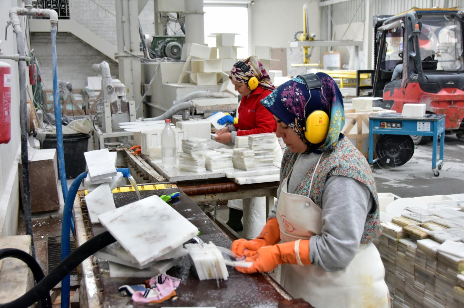 Women working at a marble factory, Muğla, Mar. 4, 2020. (DHA Photo)