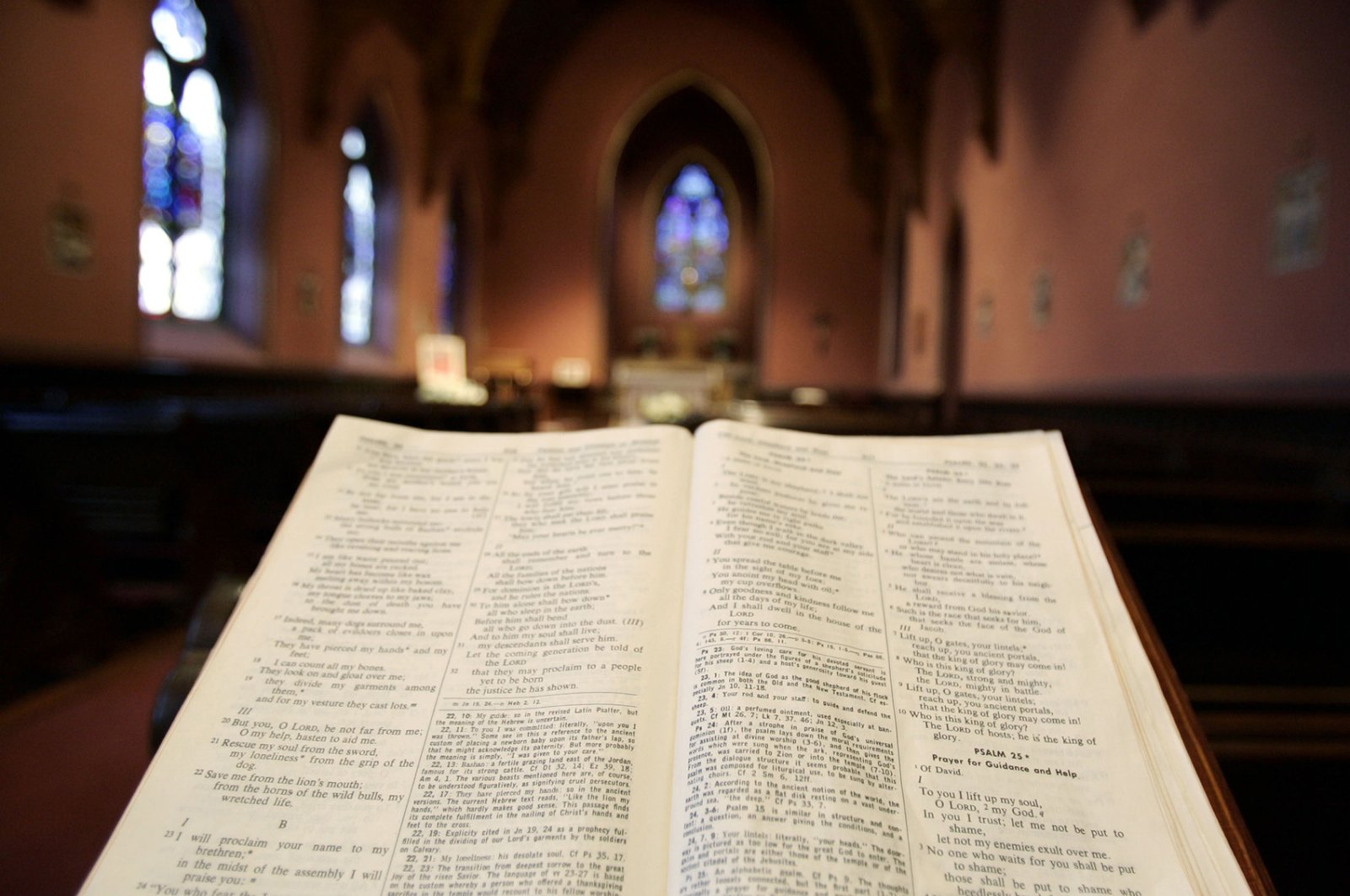 An open Bible is seen inside Holy Cross Cathedral in Boston. (Reuters Photo)