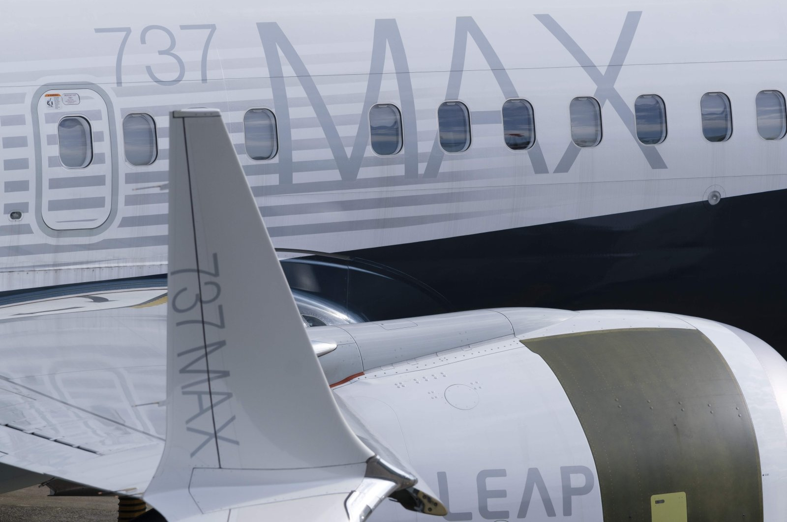 In this file photo a 737 MAX airplane is pictured on he tarmac with its signature winglet and fuel efficient engines outside the company's factory on March 11, 2019 in Renton, Washington. (AFP Photo)