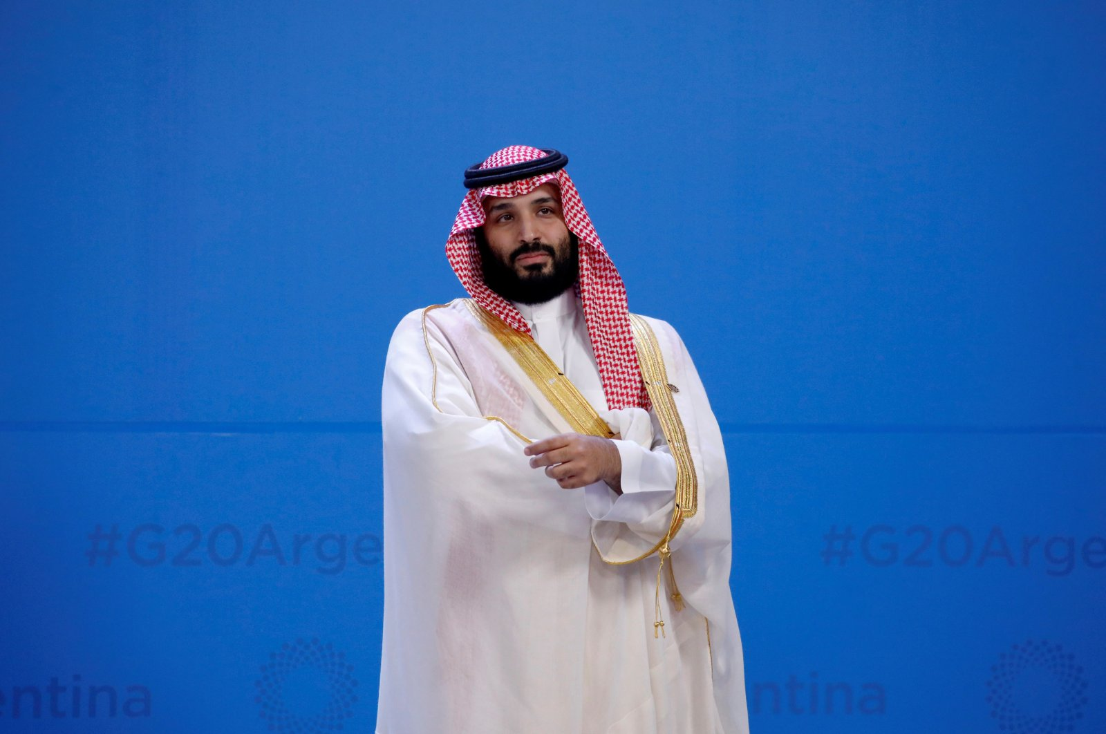 Saudi Arabia's Crown Prince M. bin Salman waits for the family photo during the G20 summit in Buenos Aires, Argentina, Nov. 30, 2018. (Reuters Photo)