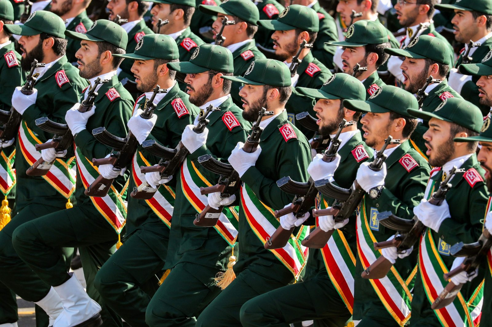 This Sept. 22, 2018, file photo shows members of Iran's Revolutionary Guards Corps (IRGC) march during the annual military parade marking the anniversary of the outbreak of the devastating 1980-1988 war with Iraq, in Tehran, Iran. (AFP Photo)