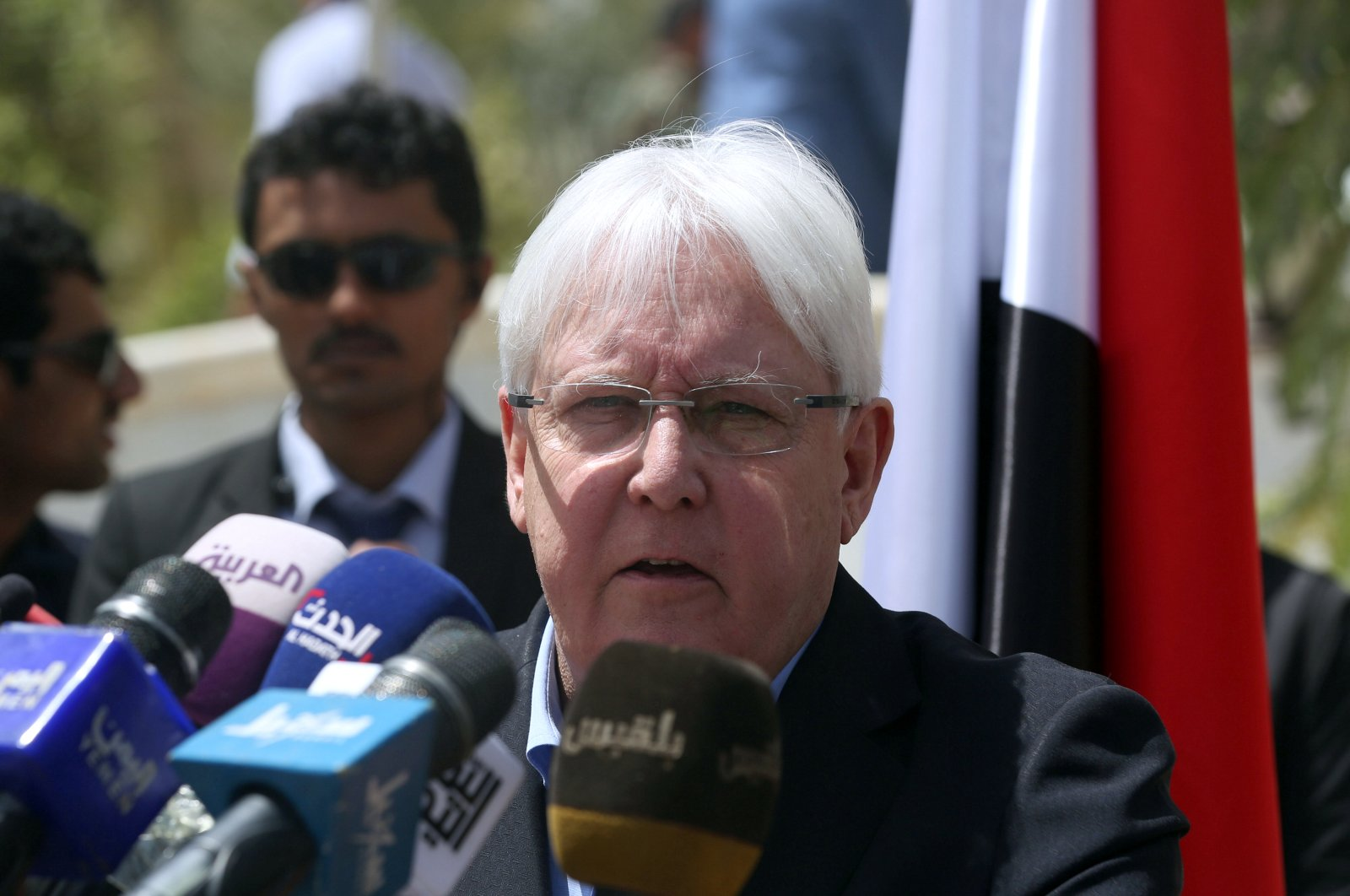 United Nations Special Envoy to Yemen Martin Griffiths, speaks during a news conference, in Marib, Yemen March 7, 2020. (Reuters Photo)