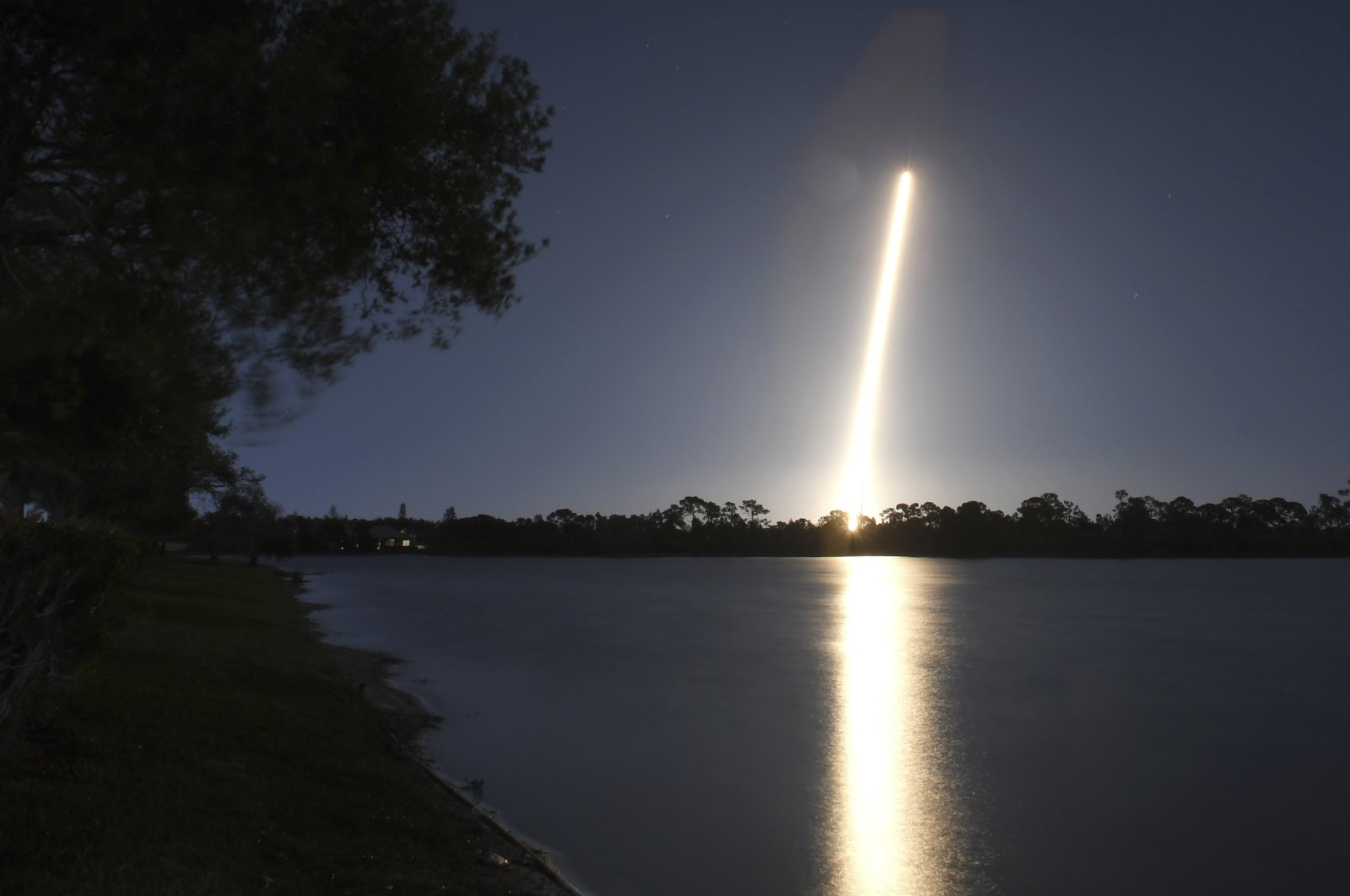 A time exposure from Viera, Fla., shows the launch of a SpaceX Falcon from Cape Canaveral, Fla., Friday night, March 6, 2020. (AP Photo)