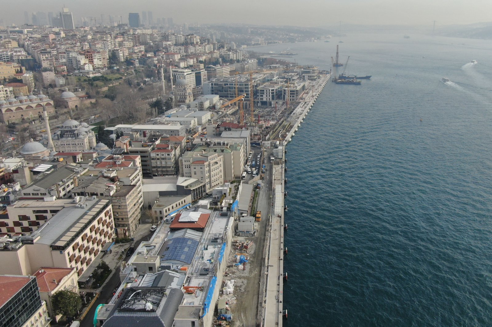 An aerial photo of the under-construction Galataport project located on the shore along Istanbul's central Karaköy district, on Sunday, March 8, 2020. (DHA Photo)