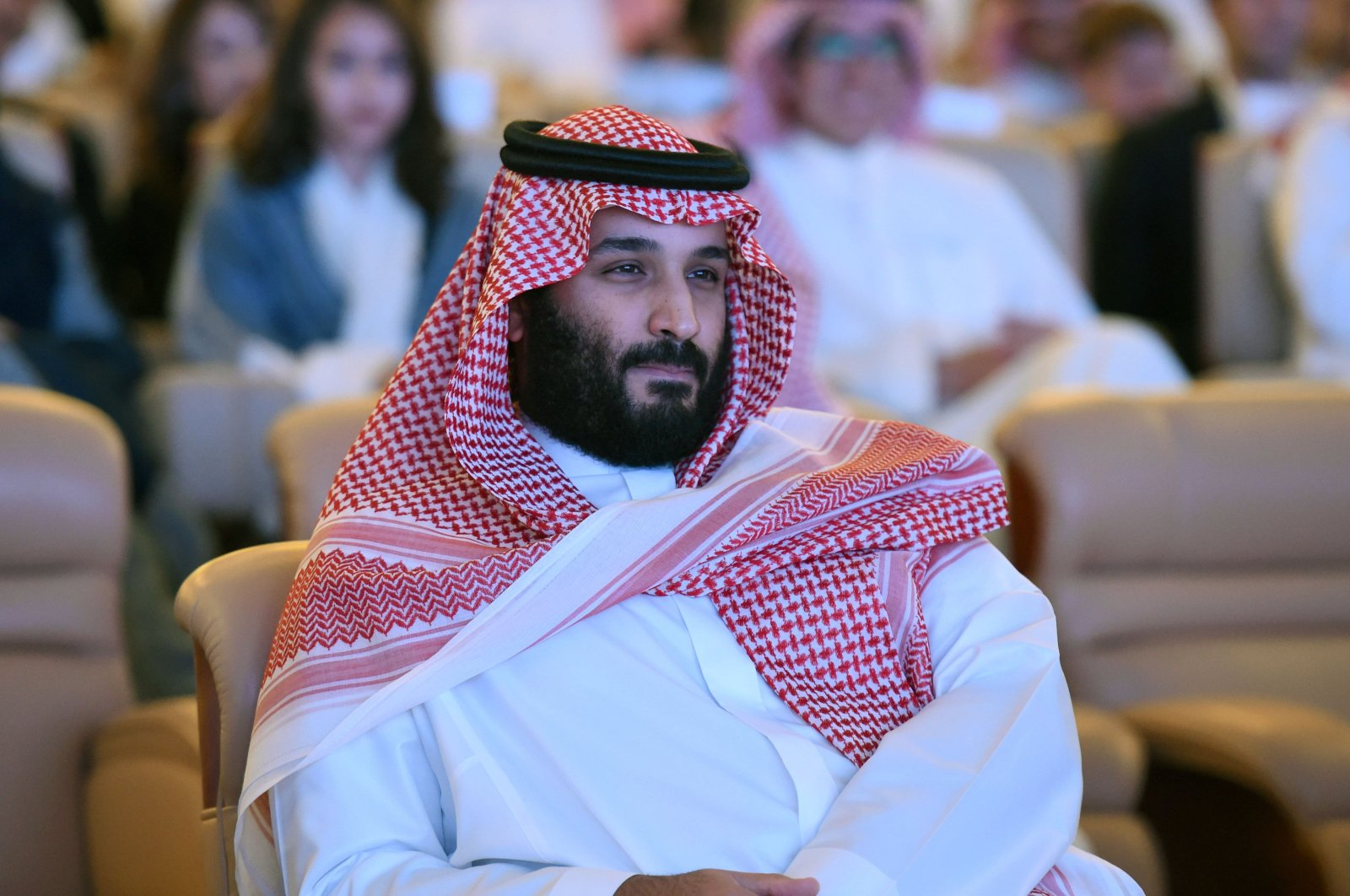 Saudi Crown Prince Mohammed bin Salman attending the Future Investment Initiative (FII) conference in Riyadh, 2017. (AFP Photo)