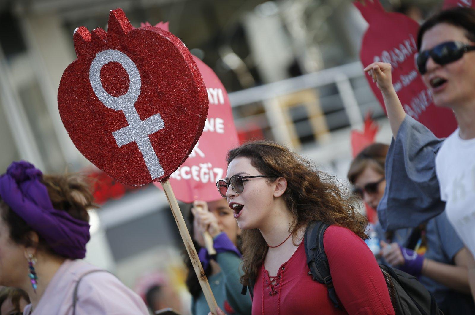 Women march in celebration of International Women's Day in Antalya, March 8, 2020. (AA Photo)
