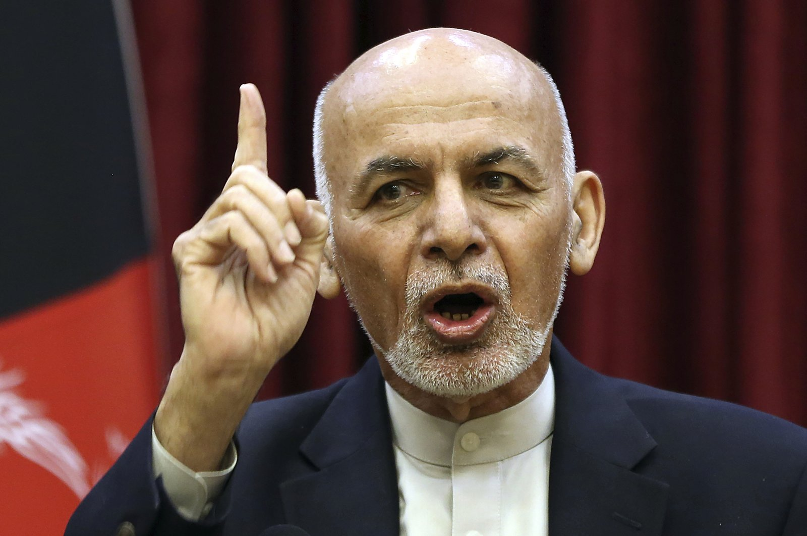 Afghan President Ashraf Ghani speaks during a news conference in presidential palace, Kabul, March 1, 2020. (AP Photo)