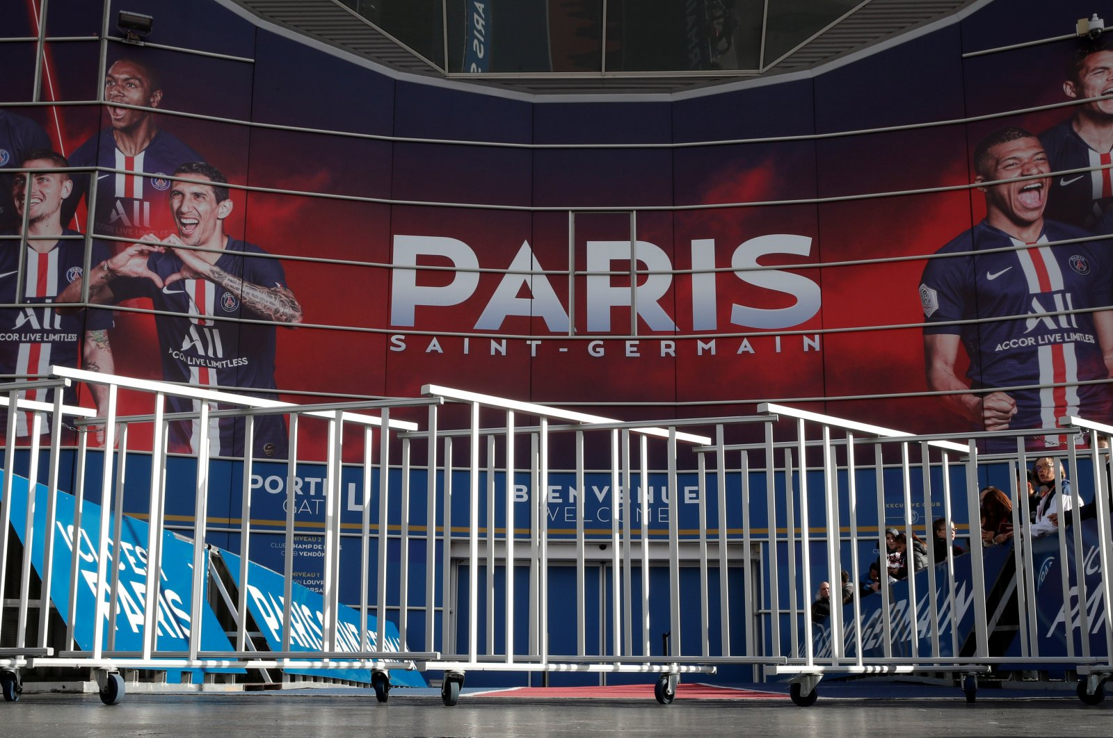 General view of the entrance outside the stadium, closed due to coronavirus precaution by the PSG organization, before the match, Paris, Feb. 29, 2020. (REUTERS Photo)