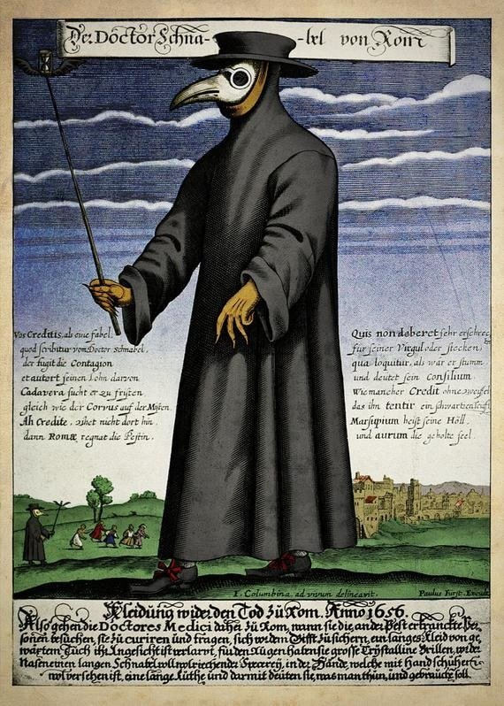Copper engraving of Doctor Schnabel (aka Dr. Beak), a plague doctor in 17th century Rome.