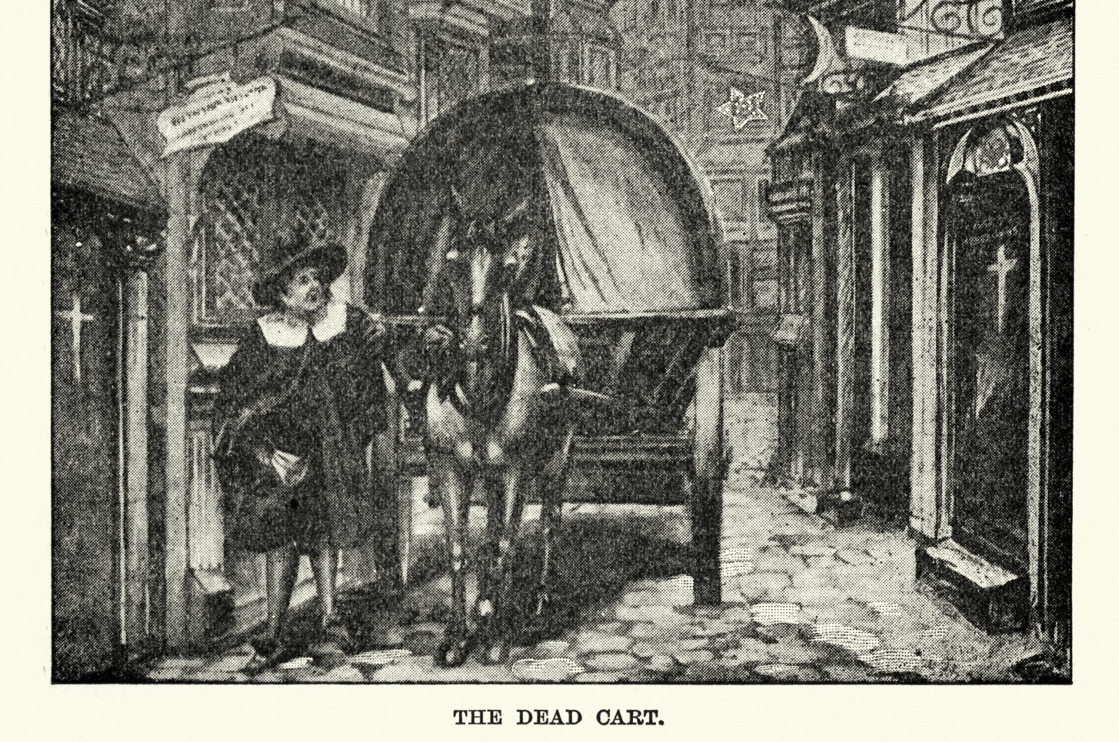 Vintage engraving of a death cart collecting the bodies of victims during the Great Plague of London. (iStock Photo)