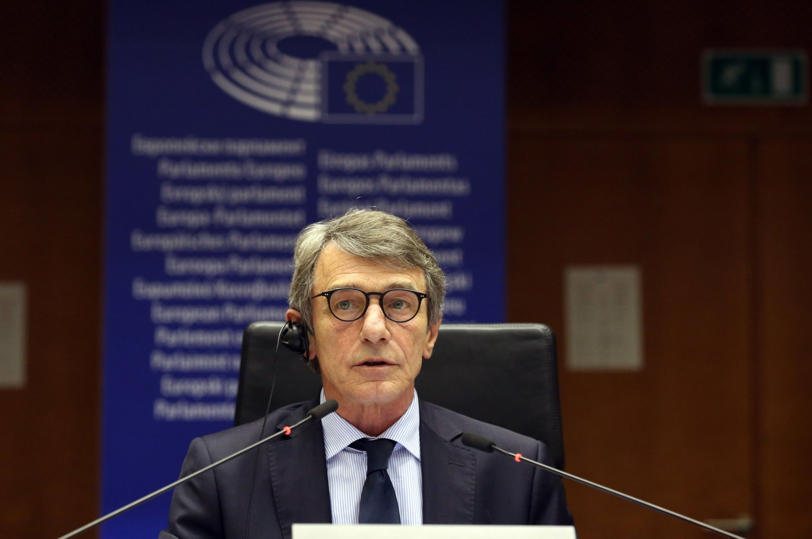 European Parliament (EP) President David Sassoli announces that the EP's plenary session, scheduled to last four days, has been reduced to a single day due to the spread of COVID-19, Brussels, March 9, 2020. (AFP Photo)