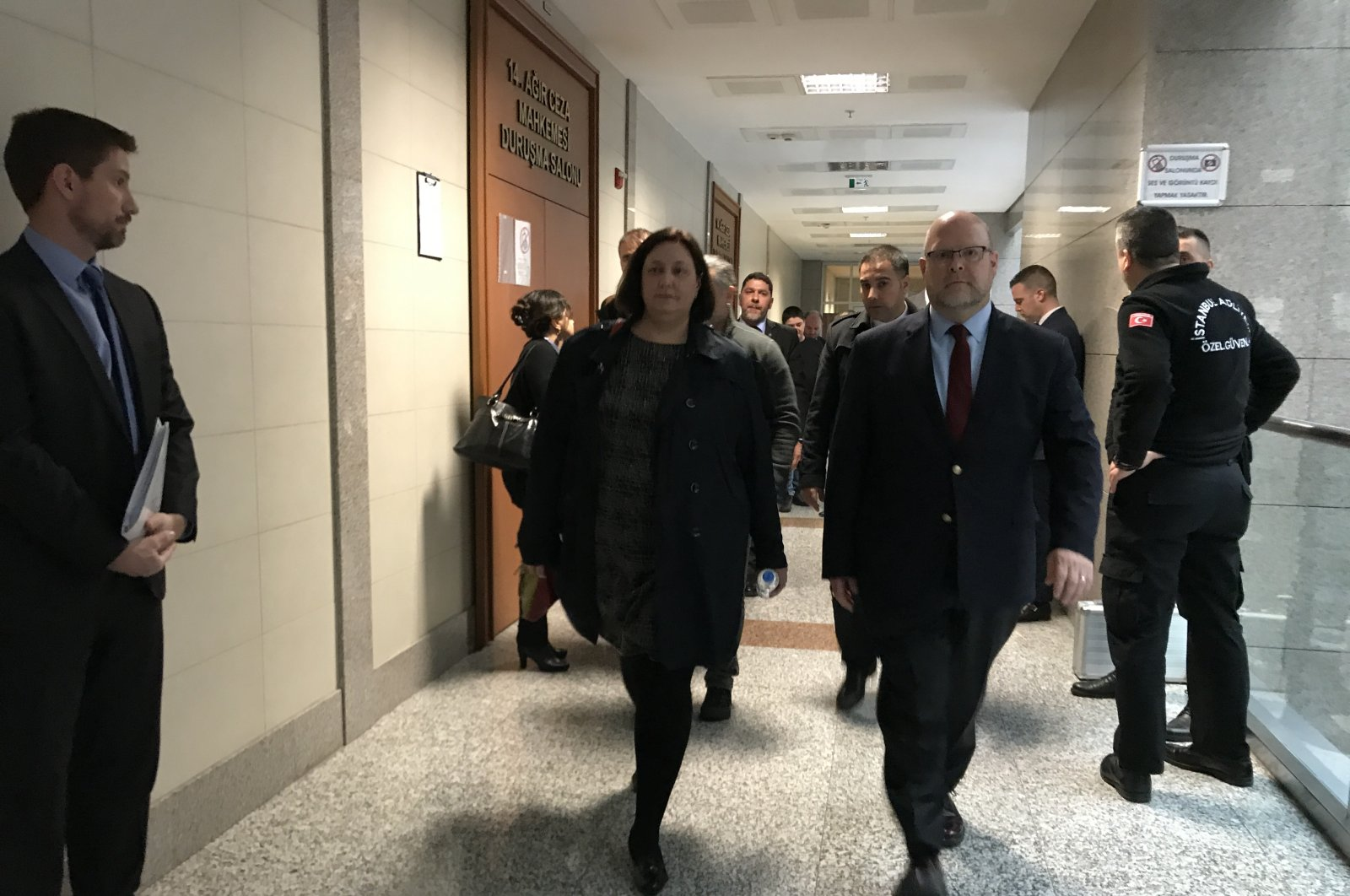 U.S. Consul General Daria Darnell (L) and Charge D'Affaires of the U.S. embassy in Ankara Jeffrey Hovenier watch the hearing, Istanbul, March 10, 2020. (Photo by Fatih Ulaş)