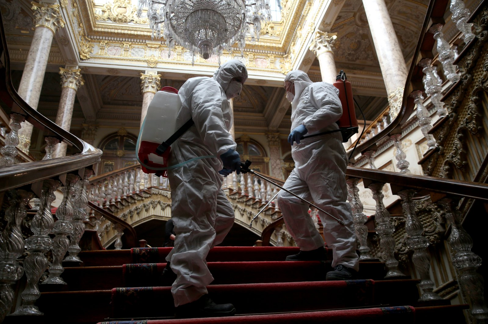 Workers disinfect Dolmabahçe Palace against the virus threat, Istanbul, March 9, 2020. (AA Photo)
