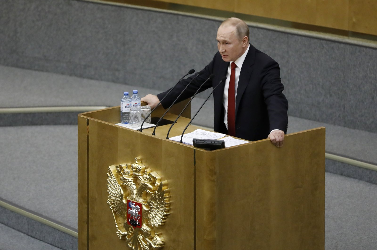 Russian President Vladimir Putin speaks during a session prior to voting for constitutional amendments at the State Duma, the Lower House of the Russian Parliament, Moscow, March 10, 2020. (AP Photo)
