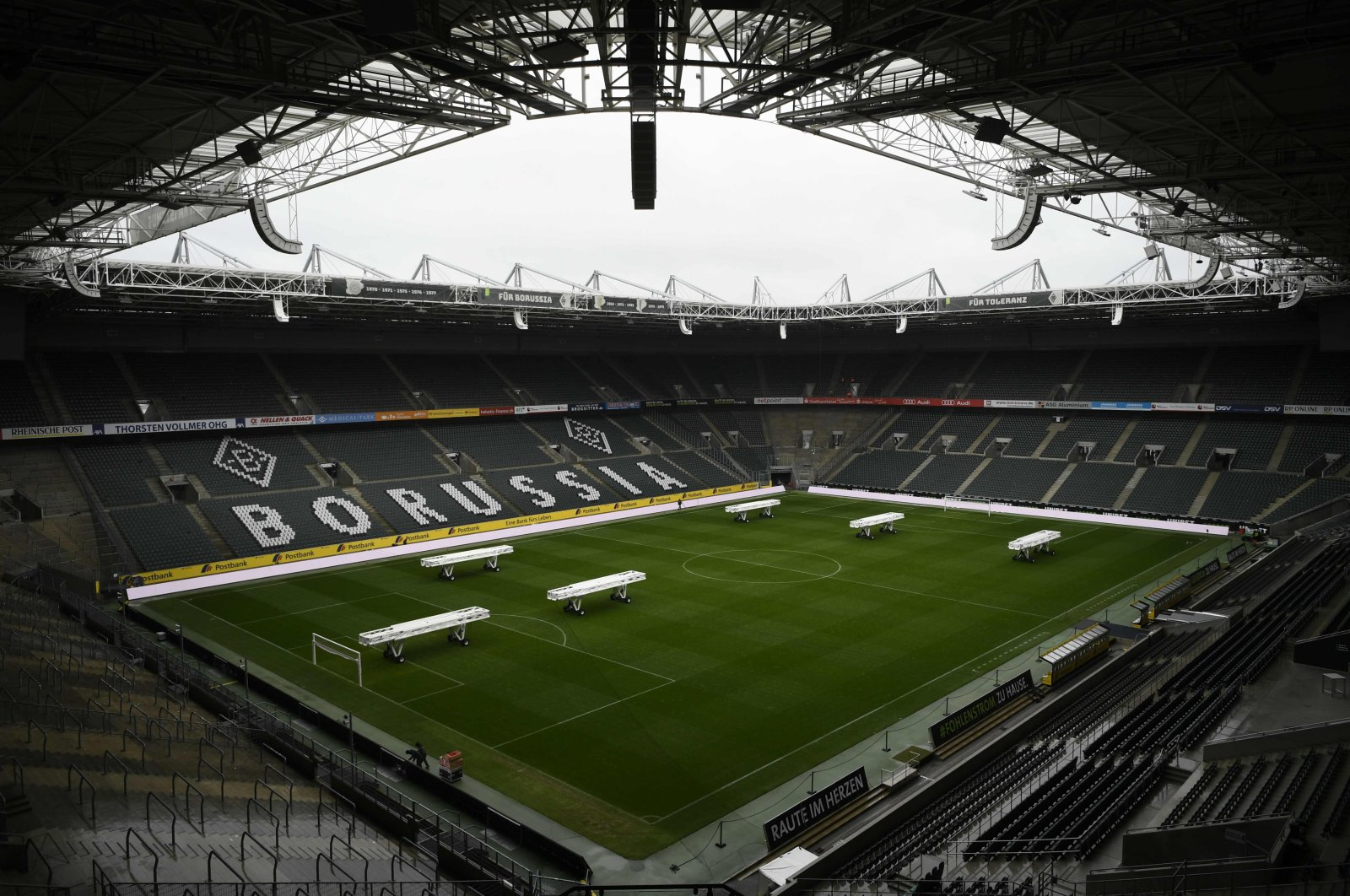 The empty Borussia-Park football stadium is pictured on March 10, 2020, in Mِnchengladbach. (AFP Photo)