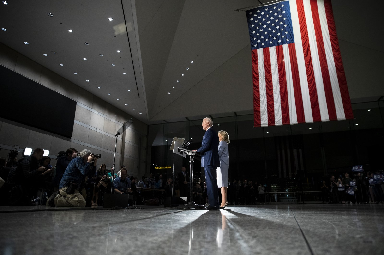 Democratic presidential candidate former Vice President Joe Biden, accompanied by his wife Jill, speaks to members of the press at the National Constitution Center in Philadelphia, Tuesday, March 10, 2020. (AP Photo)