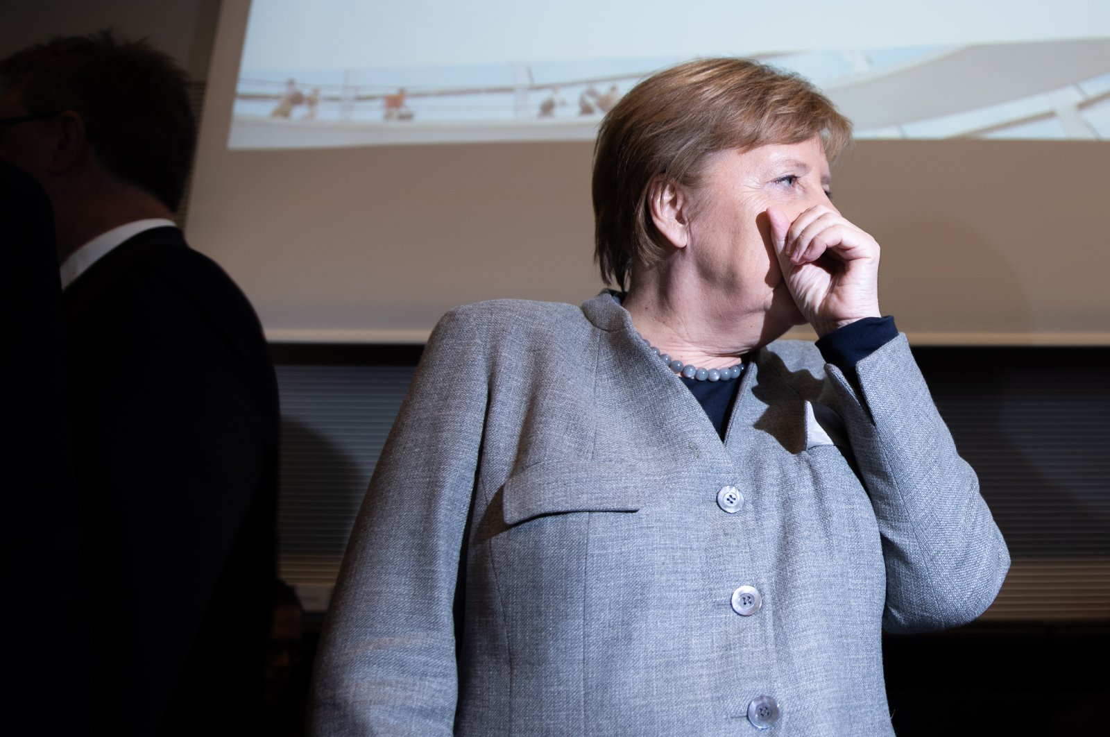 German Chancellor Angela Merkel attends a faction meeting of the Christian Democratic Union (CDU) and the Christian Social Union (CSU) at the German parliament Bundestag in Berlin, Germany, March 10, 2020. (EPA Photo)