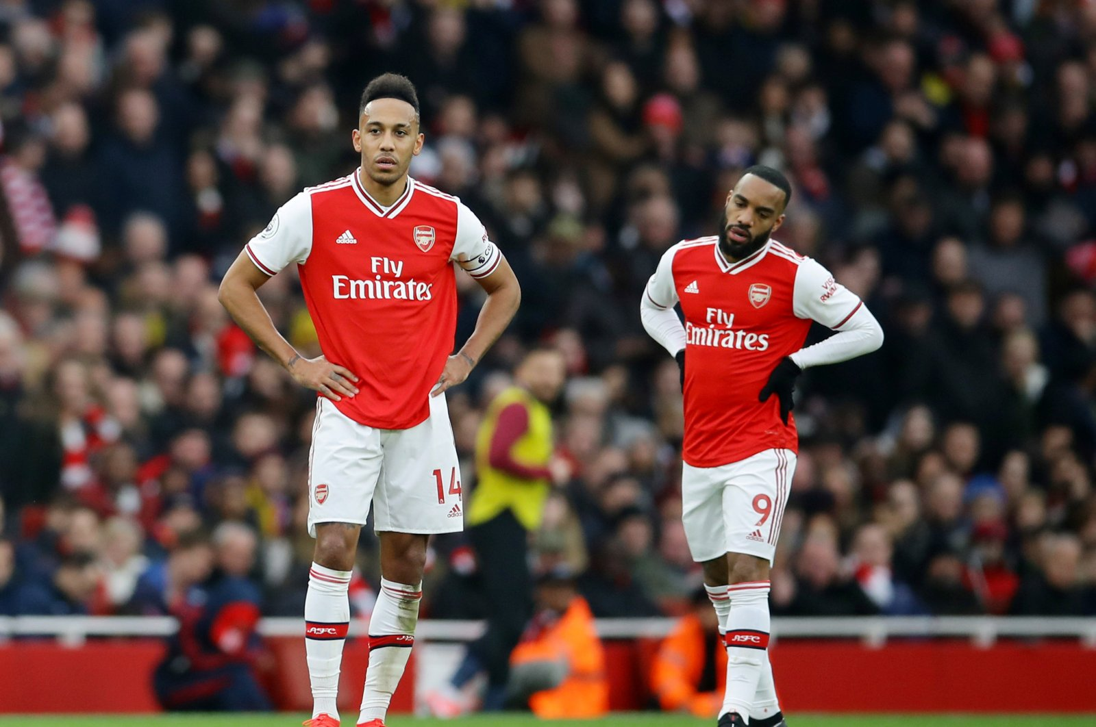 Arsenal's Aubameyang and Lacazette during a match against West Ham, March 7, 2020. (Reuters Photo)