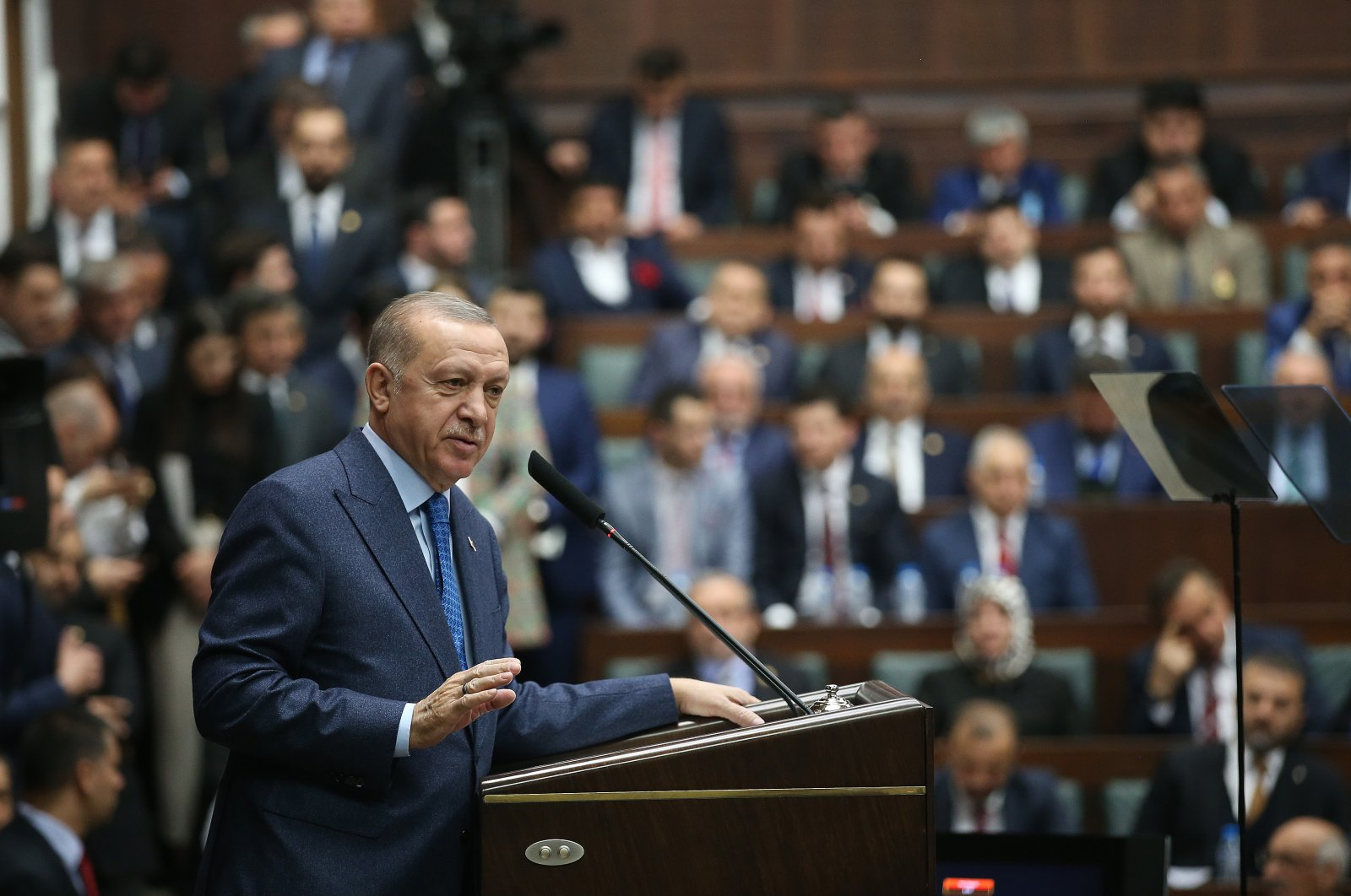 President Erdoğan speaks at the Justice and Development Party's parliamentary group meeting in Ankara on Wednesday, March 11, 2020. (AA Photo)