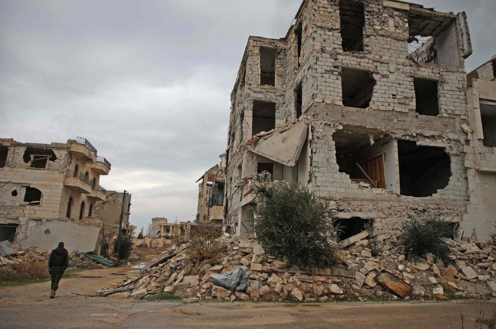 A damaged building in the Syrian opposition-held Al-Rashidin district of western Aleppo's countryside near Idlib province, Nov. 26, 2018. (AFP)