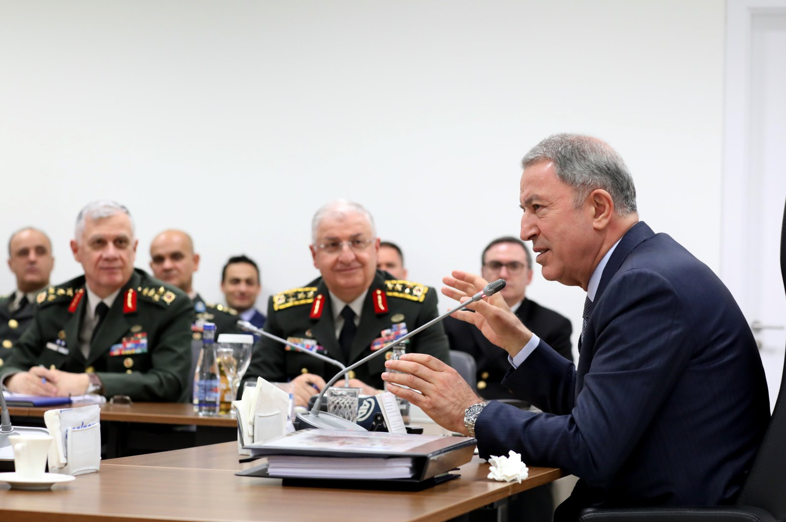Defense Minister Hulusi Akar holds a meeting with high-level military officials on March 12, 2020. (AA Photo)