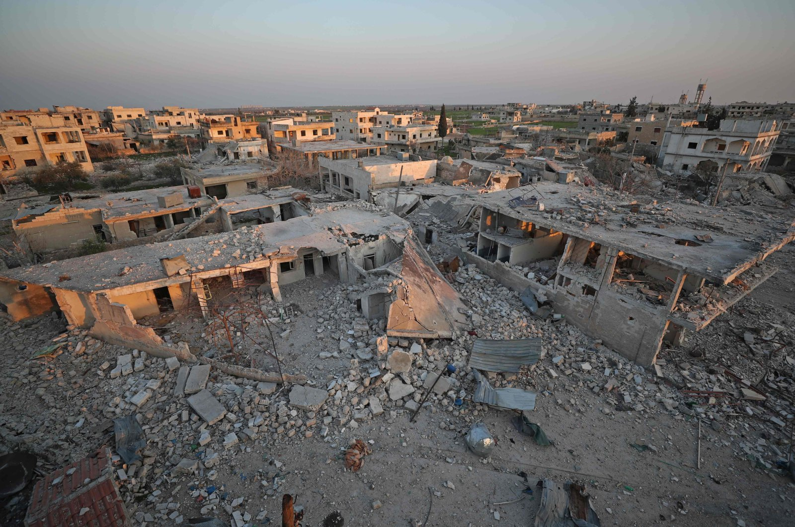 A picture taken on March 7, 2020, shows destruction in the village of al-Nayrab, about 14 km southeast of the city of Idlib in northwestern Syria. (AFP Photo)