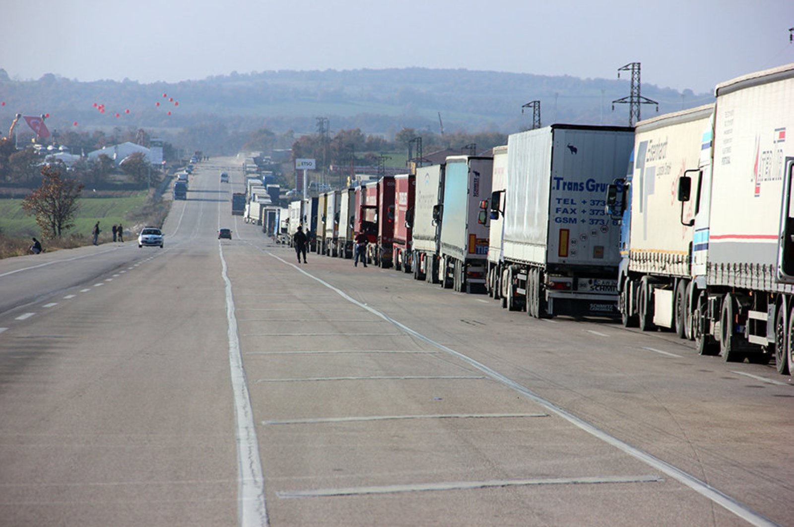 In this file photo dated Feb. 27, 2020, trucks seem waiting at the Kapıkule border gate along Turkish-Bulgarian border. (AA Photo)