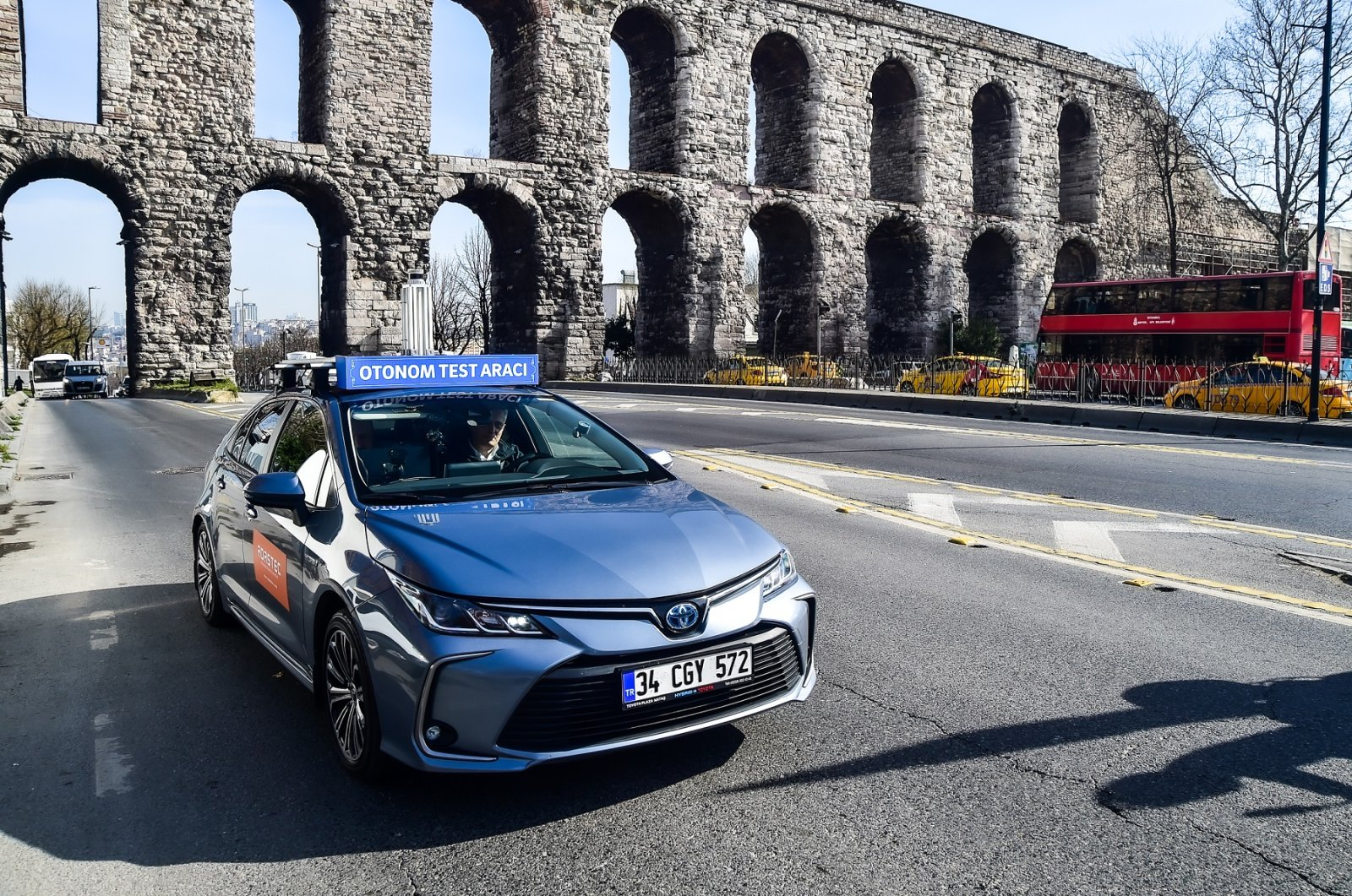 Driverless car produced by a firm under the scope of a joint university-industry projects tested in Istanbul. (AA Photo)