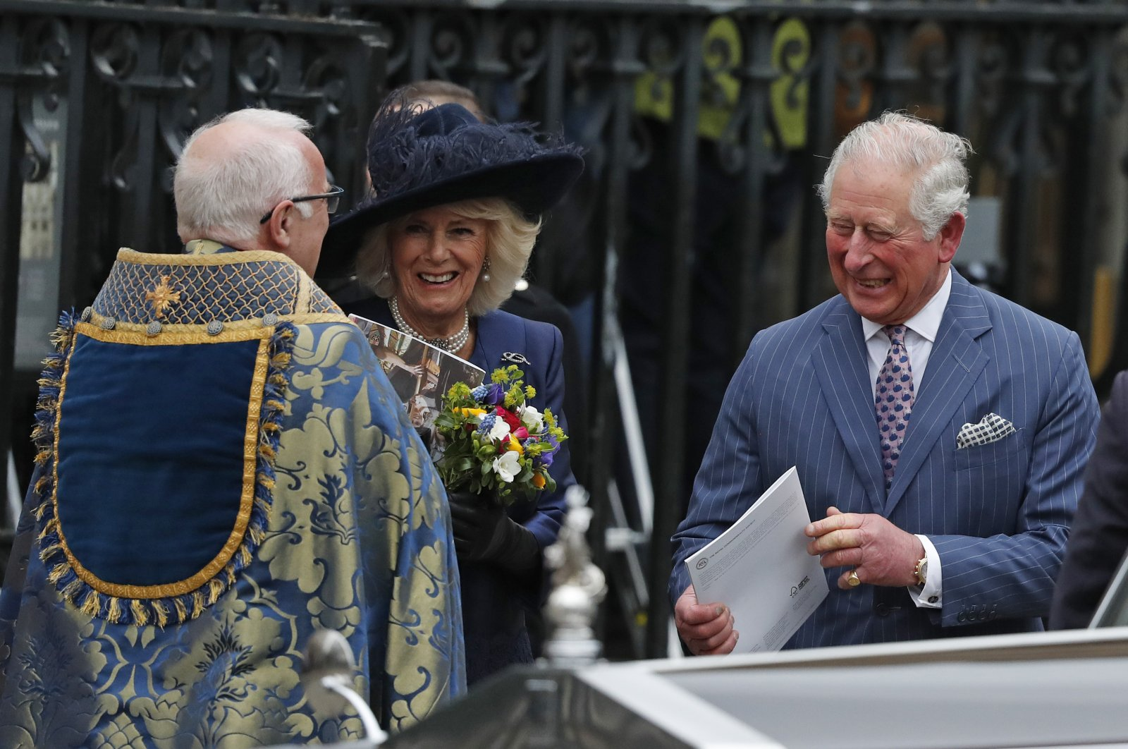 Britain's Prince Charles and Camilla, Duchess of Cornwall, leave after attending the annual Commonwealth Day service at Westminster Abbey in London, Monday, March 9, 2020. (AP Photo)