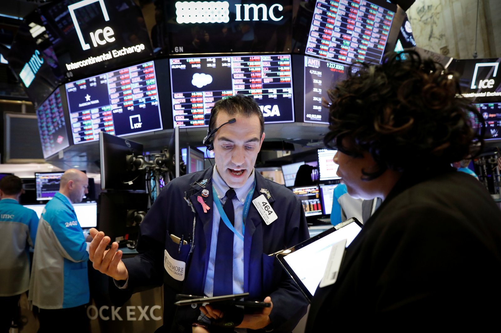 Traders work on the floor of the New York Stock Exchange near the close of trading in New York, U.S., Thursday, March 12, 2020. (Reuters Photo)