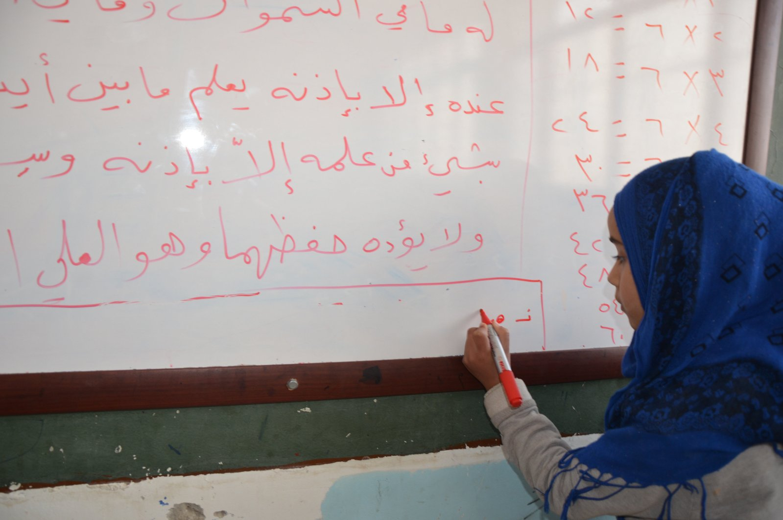 A girl in a school in northern Syria's Tal Abyad, which was cleared of terrorists with Operation Peace Spring in October 2019.