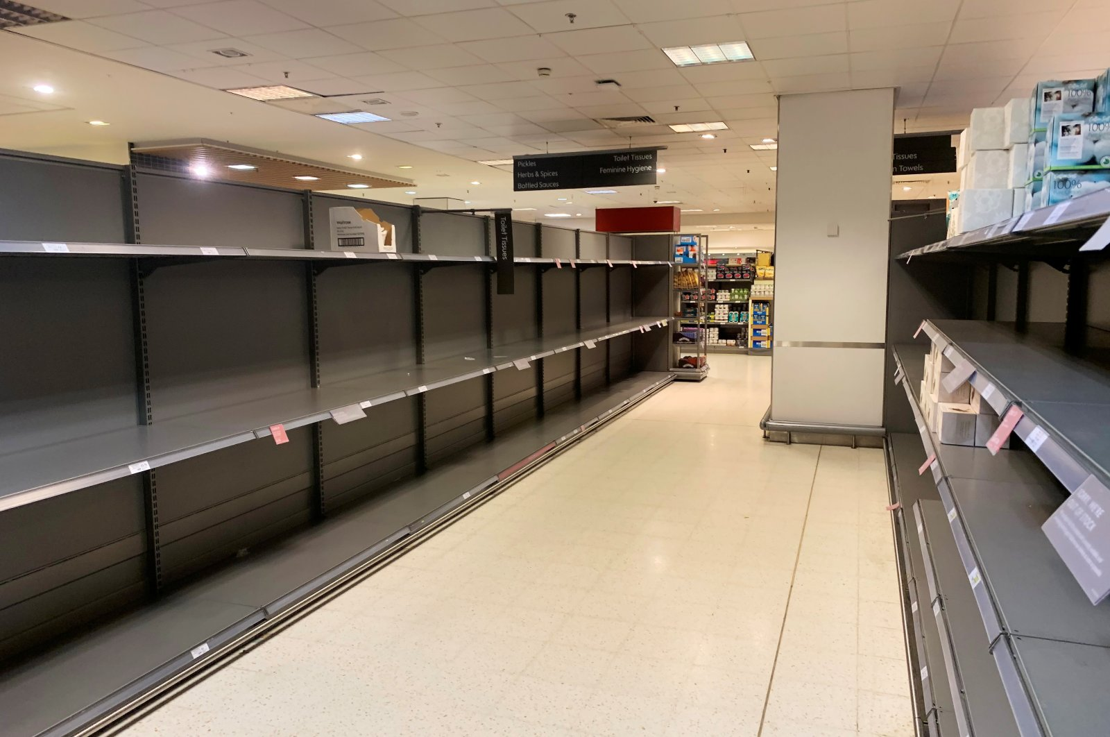 Empty shelves are seen at a supermarket in Canary Wharf, as the number of coronavirus cases grows around the world and as European stocks plunge into bear market territory, in London, Britain March 9, 2020. (Reuters Photo)