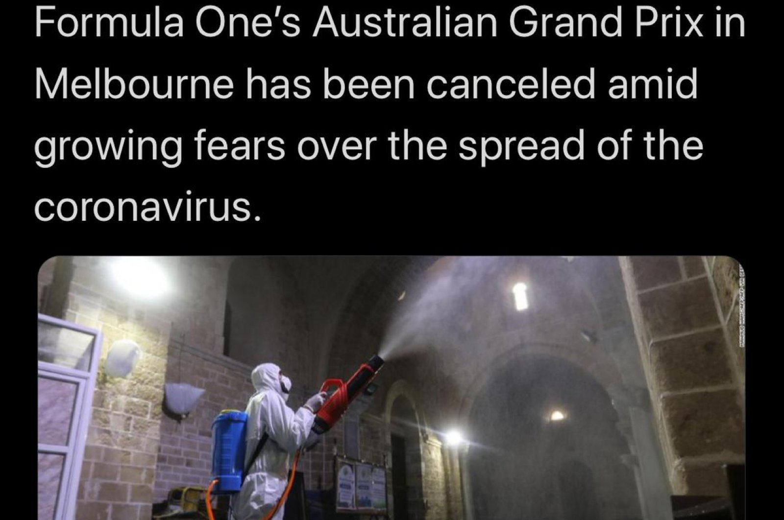CNN published the news of the cancellation of the Formula One Grand Prix Race in Melbourne with visuals from Istanbul, March 14, 2020