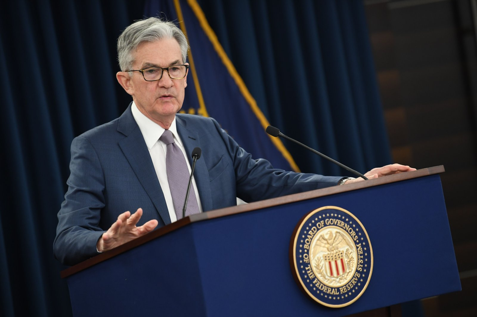 In this file photo taken on March 3, 2020, U.S. Federal Reserve Chairman Jerome Powell gives a news briefing after a surprise announcement that the Fed will cut interest rates, in Washington, D.C. (AFP Photo)