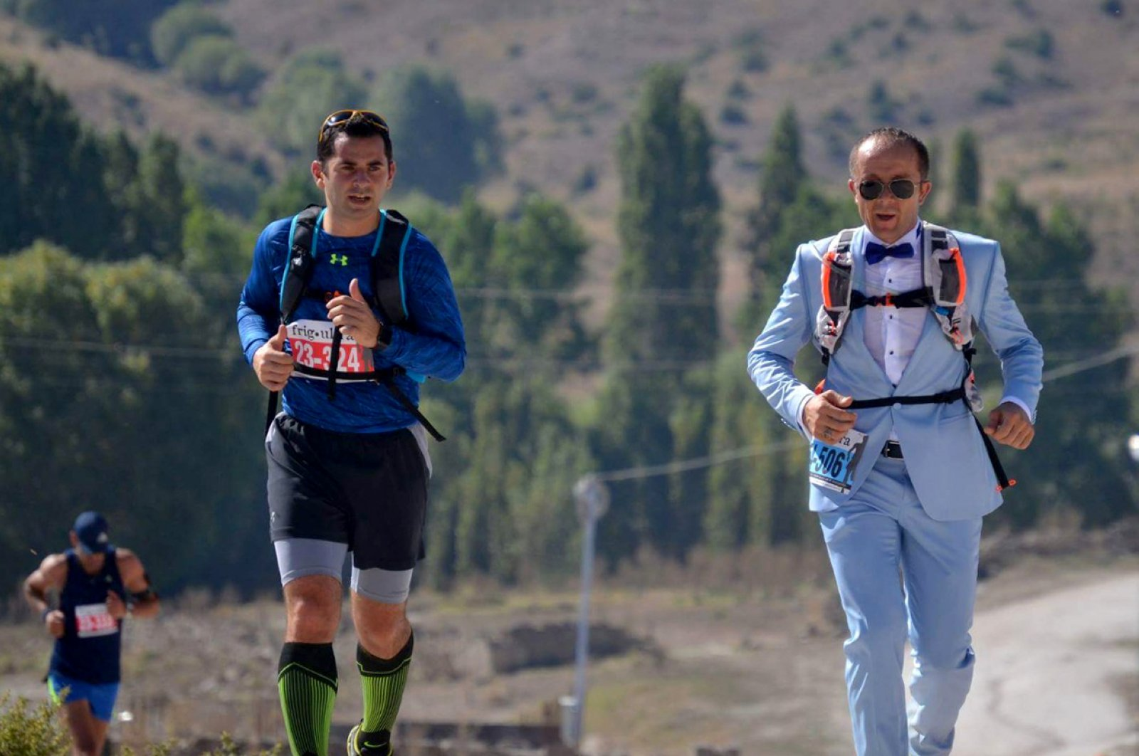 Bilal Gül runs in one of his suits. (AA Photo)