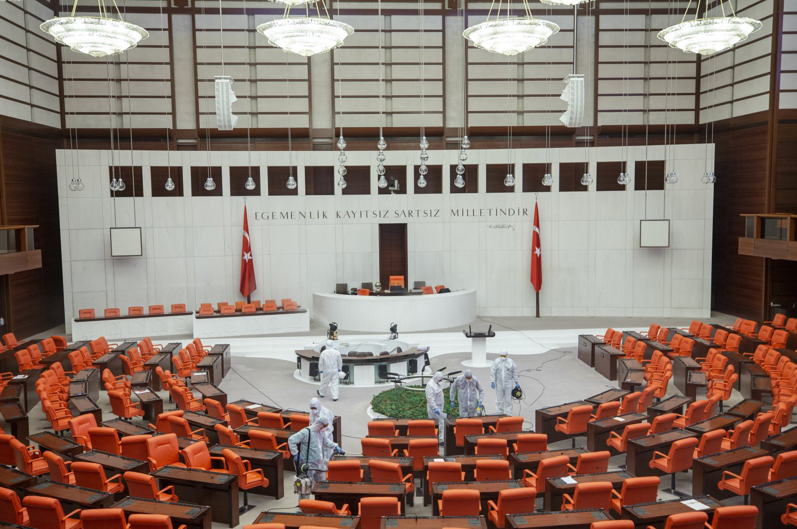 Turkey's Parliament has been disinfected within the scope of measures taken against the spread of COVID-19, March 13, 2020. (AA Photo)