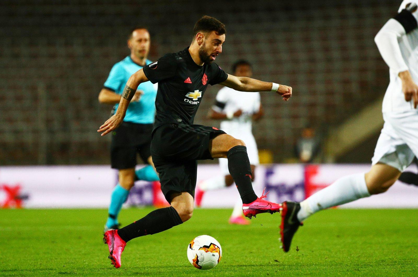 Manchester United's Bruno Fernandes in action against LASK Linz, Linz, Austria, March 12, 2020. (Reuters Photo)