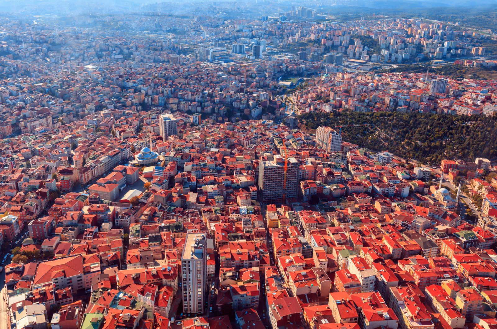 An aerial view of Turkey's financial capital Istanbul, which had the largest share in house sales in February. (iStock Photo)