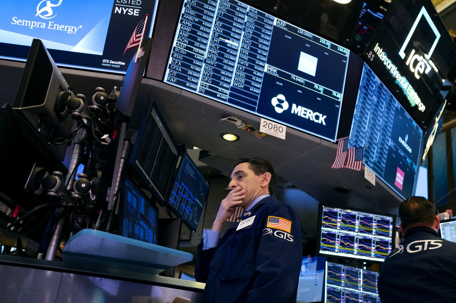 Trader Peter Mazza works on the floor of the New York Stock Exchange, Feb. 27, 2020. (AP Photo)