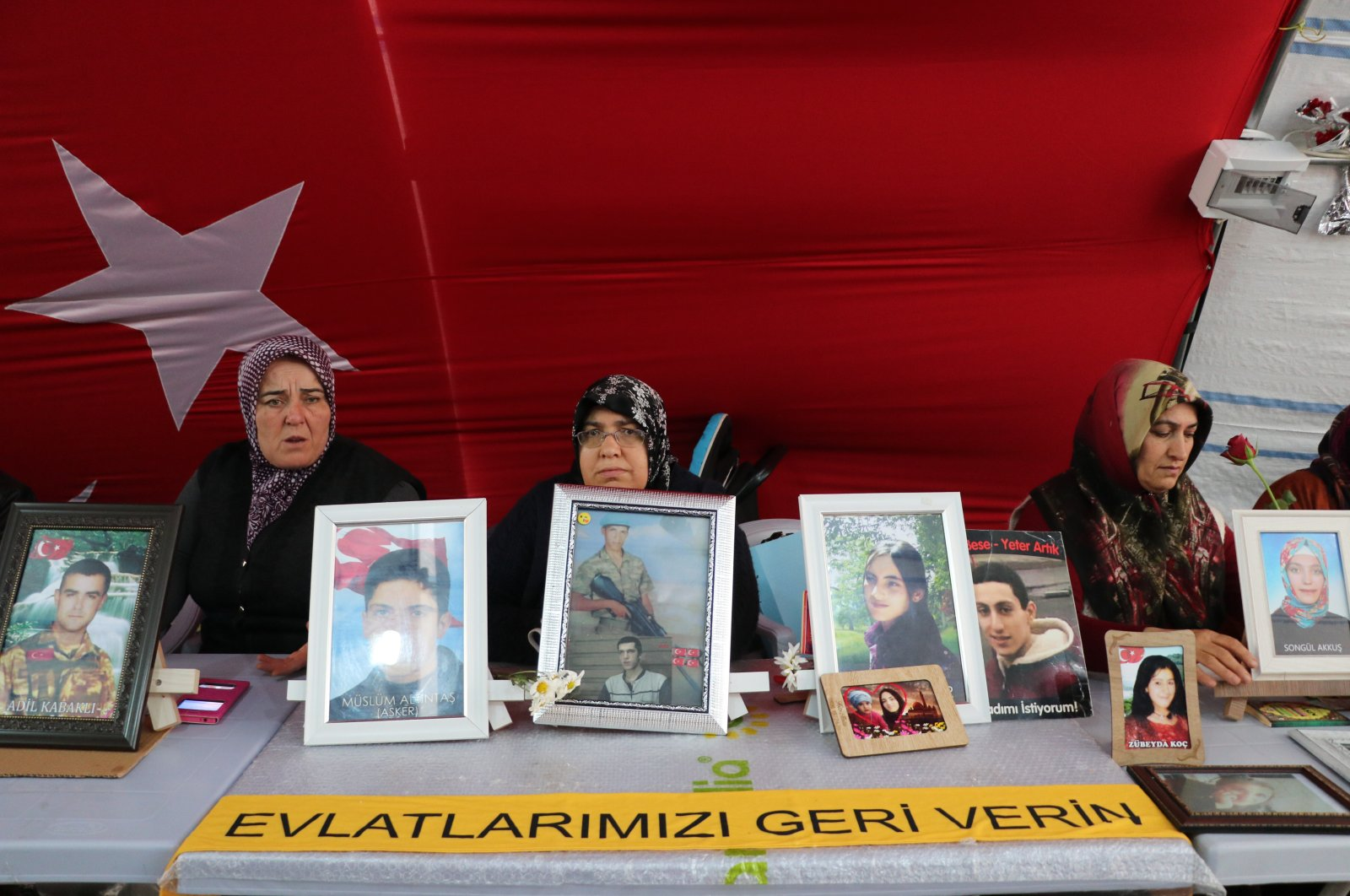 Two more families joined the sit-in in southern Diyarbakır province against the PKK and HDP, March 17, 2020. (AA Photo)