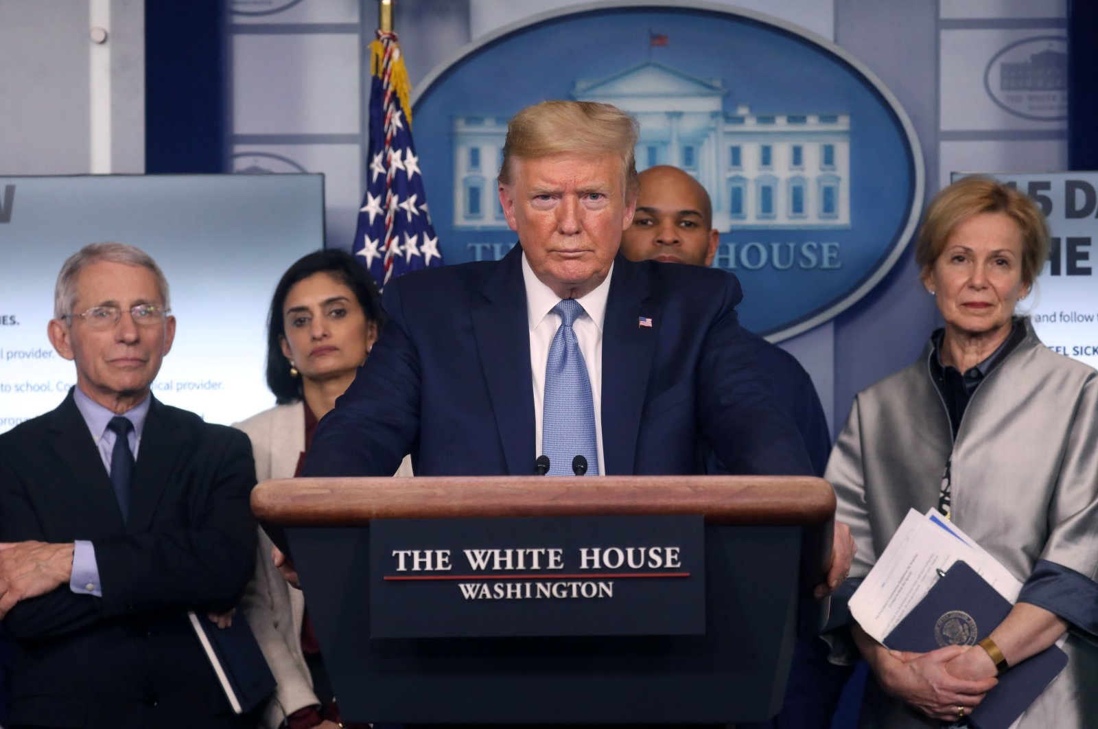 U.S. President Donald Trump holds a news briefing on the coronavirus outbreak at the White House, Washington, U.S., Monday, March 16, 2020. (REUTERS Photo)