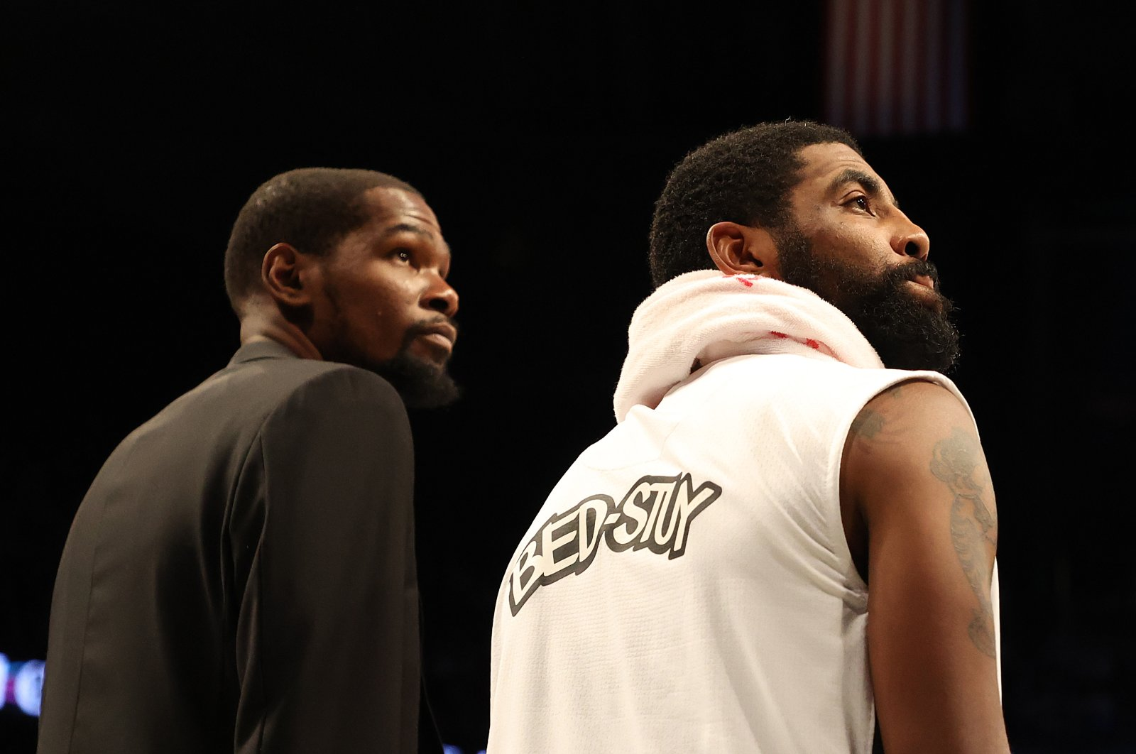 In this file photo taken on January 18, 2020 Kevin Durant #7 and Kyrie Irving #11 of the Brooklyn Nets look on during their game against the Milwaukee Bucks at Barclays Center in New York City. (AFP Photo)