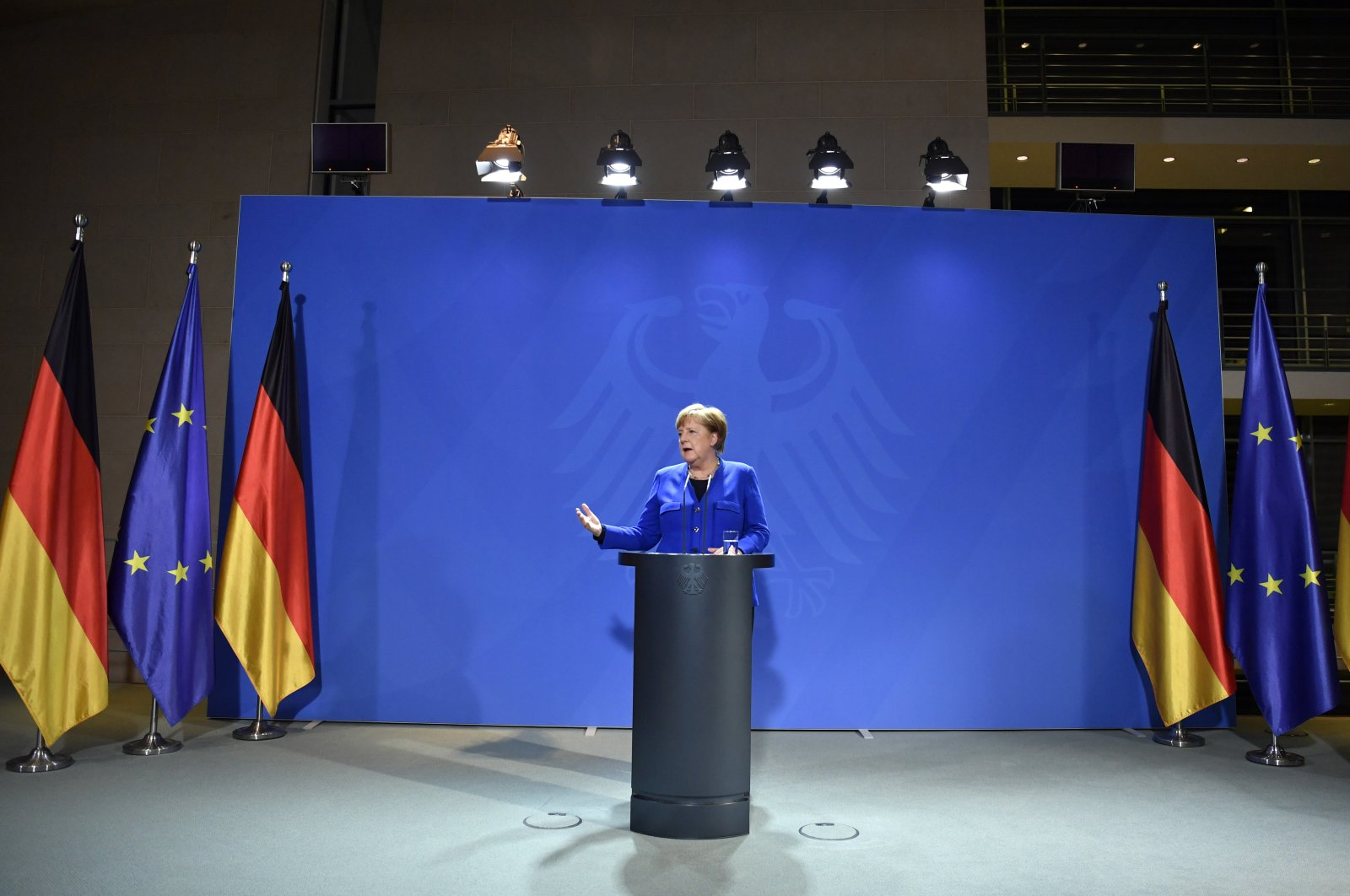German Chancellor Angela Merkel makes a press statement on the spread of the new coronavirus at the Chancellery, in Berlin, Tuesday, March 17, 2020. (AP Photo)