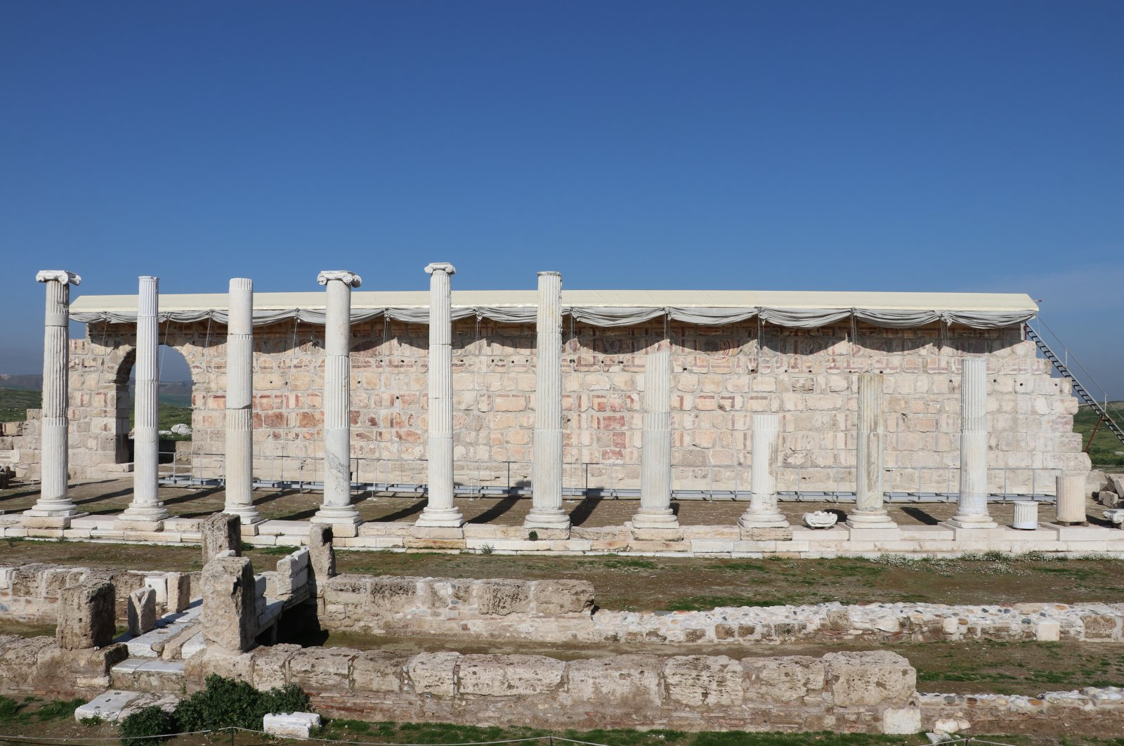 The travertine blocks were buried underground after an earthquake in A.D. 494. (AA Photo)