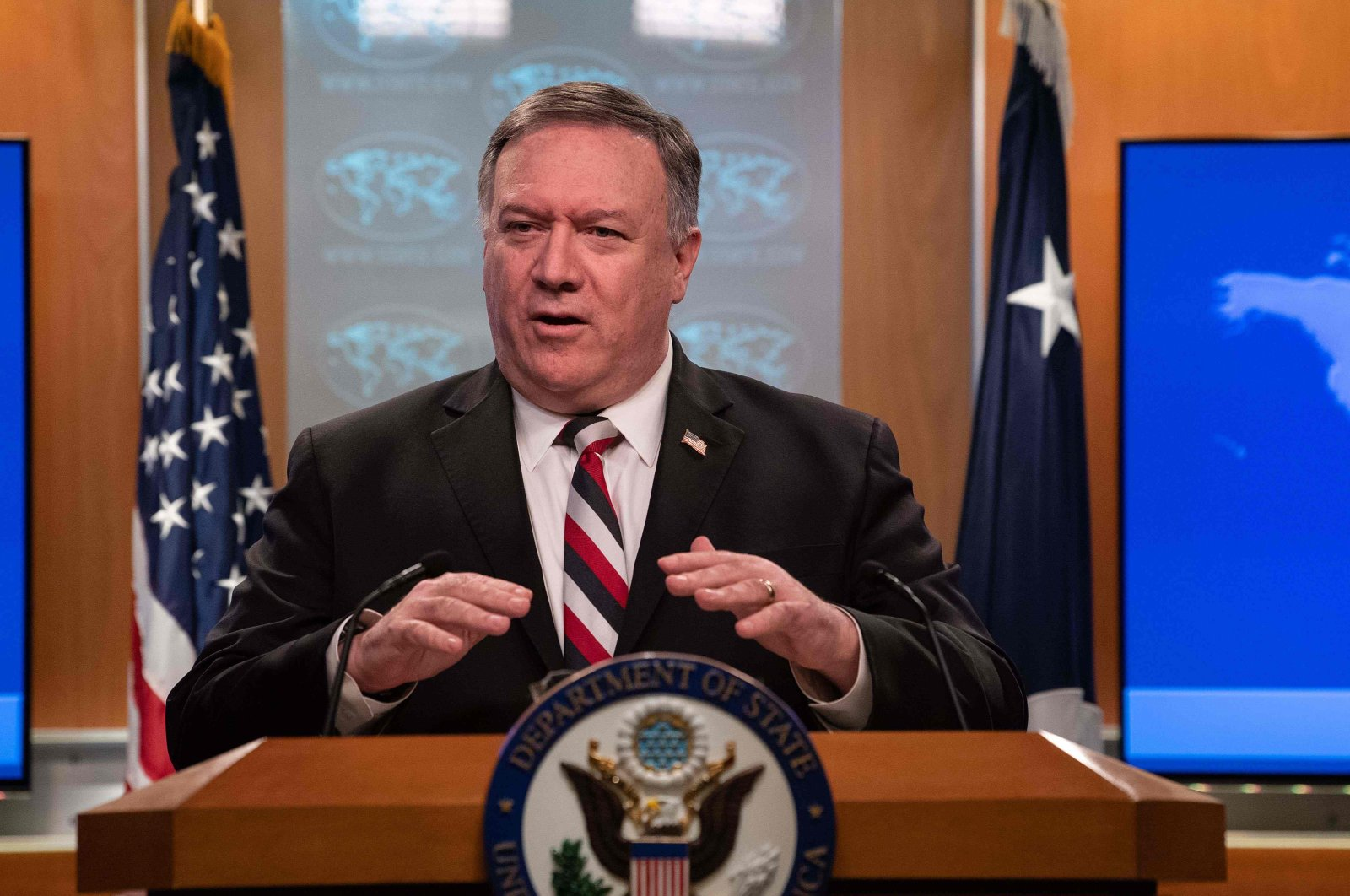 US Secretary of State Mike Pompeo announced sanctions on Syrian regime officials during a press conference at the State Department in Washington DC, on March 17, 2020. (AFP Photo)