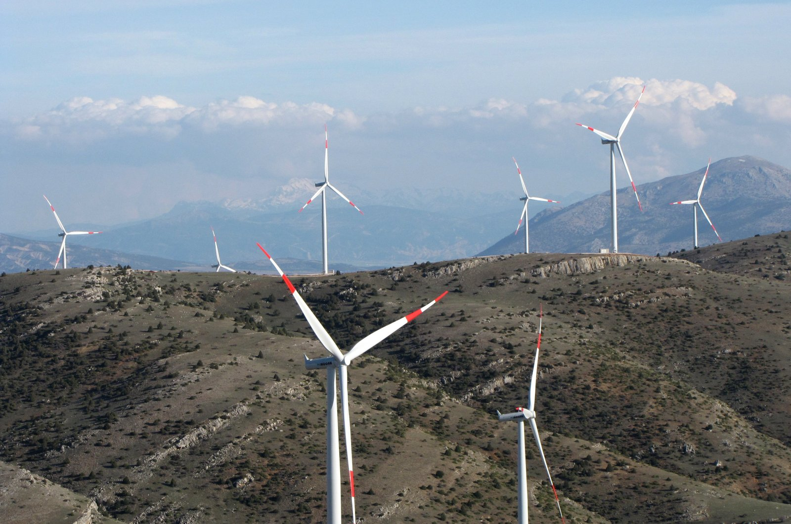 Wind turbines seen in Dinar district of Turkey's western province of Afyonkarahisar, March 28, 2019. (AA Photo)