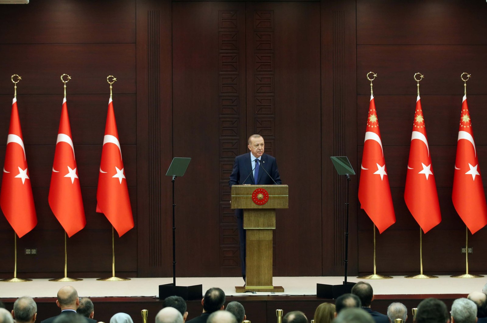 President Recep Tayyip Erdoğan speaks during a news conference following a coronavirus disease (COVID-19) meeting, Ankara, Turkey, Wednesday, March 18, 2020. (AA Photo)